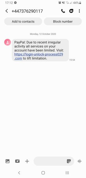 fake paypal text message /sms